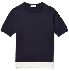 Aloye Contrast-Trimmed Knitted Cotton Sweater