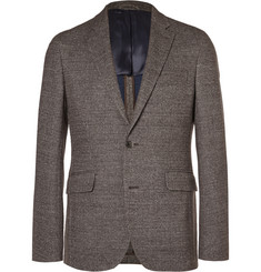 Hackett Brown London Slim-Fit Checked Knitted Blazer