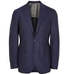 Hackett Blue London Slim-Fit Mélange Wool Blazer