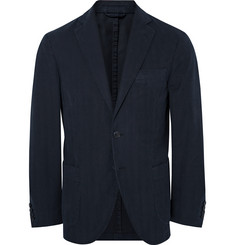Hackett Blue Slim-Fit Herringbone Cotton-Twill Blazer