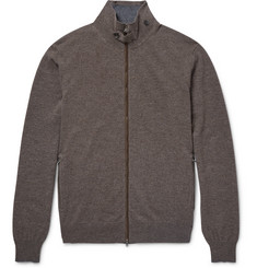 Hackett Mayfair Suede-Trimmed Wool and Cashmere-Blend Zip-Up Cardigan