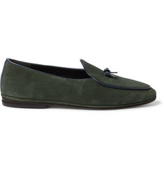 Rubinacci Marphy Leather-Trimmed Velvet Loafers