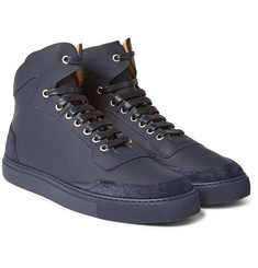 Harrys of London - Mr. Jones Suede-Panelled Leather High-Top Sneakers