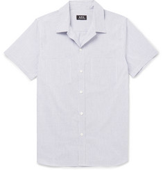 A.P.C. Slim-Fit Striped Cotton and Linen-Blend Shirt