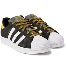 Adidas Originals - Superstar Varsity Grained-Leather and Jacquard Sneakers