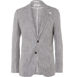 Oliver Spencer Blue Theobald Slim-Fit Linen and Cotton-Blend Jacket
