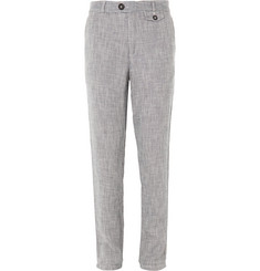 Oliver Spencer Blue Linen and Cotton-Blend Trousers
