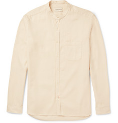 Oliver Spencer Slim-Fit Grandad-Collar Waffle-Knit Cotton and Linen-Blend Shirt