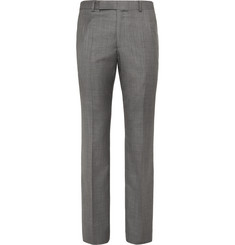 Gieves & Hawkes Grey Sharkskin Wool Suit Trousers