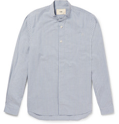 Folk Slim-Fit Grandad-Collar Striped Cotton Shirt