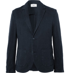 Folk Navy Slim-Fit Linen and Cotton-Blend Blazer