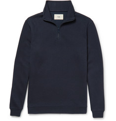 Folk - Elbow-Patch Piqué Half-Zip Sweatshirt