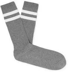 Folk Striped Cotton-Blend Socks