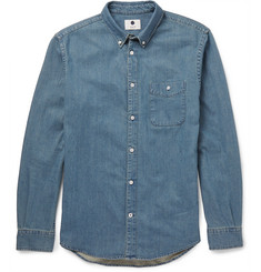 NN07 New Derek Slim-Fit Button-Down Collar Denim Shirt