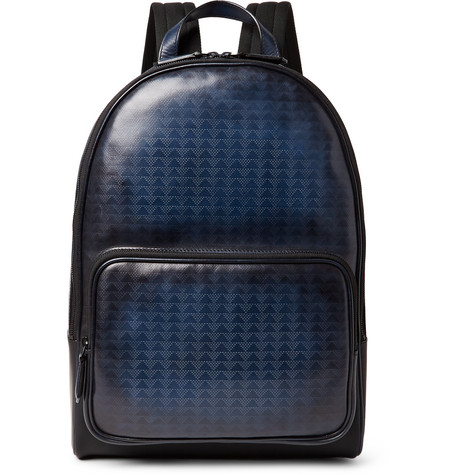 Berluti - Time-Off Vitello Pythagora Patterned Leather Backpack - Navy