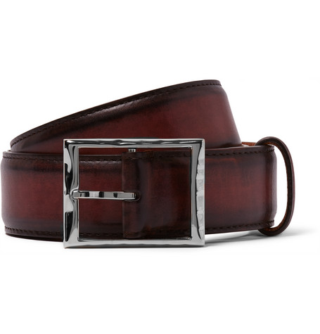 3.5cm Burgundy Classic Polished-leather Belt