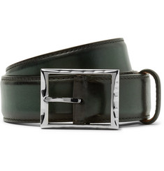 Berluti - 3.5cm Green Burnished-Leather Belt