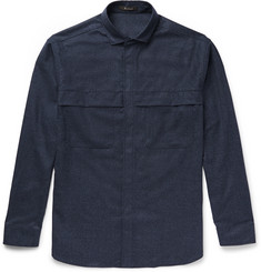 Berluti - Oversized Cutaway-Collar Wool-Flannel Shirt