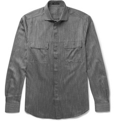 Berluti Slim-Fit Cutaway-Collar Mélange Cotton Shirt