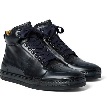 Polished-leather High-top Sneakers - Petrol