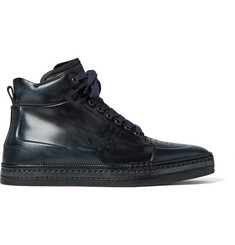 Berluti Polished Venezia Leather High-Top Sneakers
