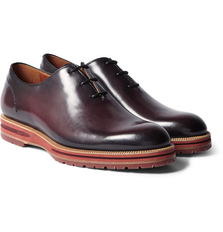 Saint Emilion Polished-leather Oxford Shoes - Burgundy