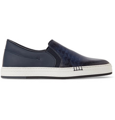 Berluti Vitello Pythagora Patterned and Rubberised Leather Sneakers