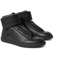 Maison Margiela - Future Full-Grain Leather and Neoprene High-Top Sneakers