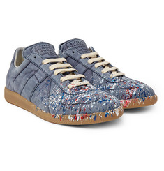 Maison Margiela - Replica Paint-Splattered Nubuck Sneakers