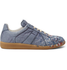 Maison Margiela Replica Paint-Splattered Nubuck Sneakers