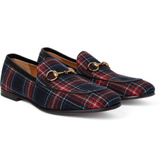 Gucci - Horsebit Leather-Trimmed Tartan Twill Loafers