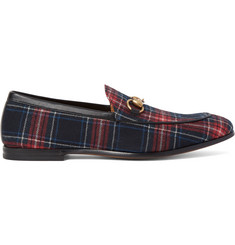 Gucci Horsebit Leather-Trimmed Tartan Twill Loafers