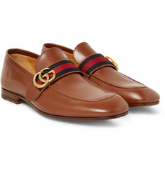 Gucci - Webbing-Trimmed Leather Loafers