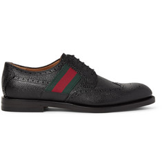 Gucci Webbing-Trimmed Pebble-Grain Leather Wingtip Brogues