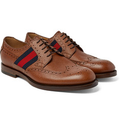 Gucci - Webbing-Trimmed Pebble-Grain Leather Wingtip Brogues