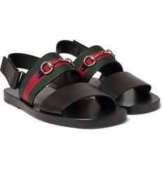 Gucci - Horsebit Webbing-Trimmed Leather Sandals