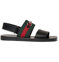 Gucci Horsebit Webbing-Trimmed Leather Sandals
