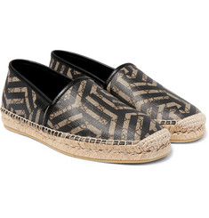 Gucci - Leather-Trimmed Coated-Canvas Espadrilles