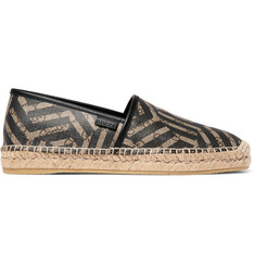 Gucci Leather-Trimmed Coated-Canvas Espadrilles