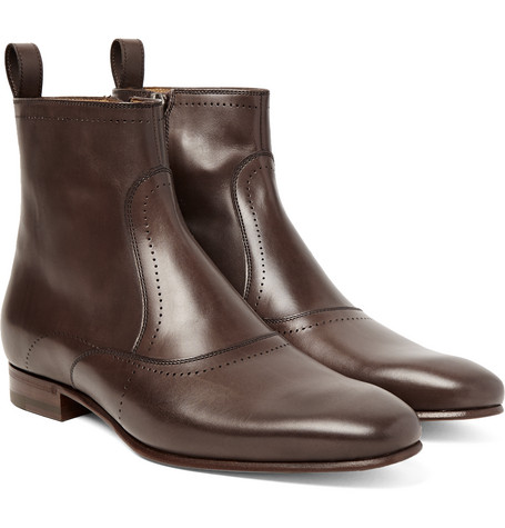 gucci male 123862 gucci leather chelsea boots chocolate