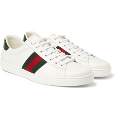 Gucci - Crocodile-Trimmed Leather Sneakers