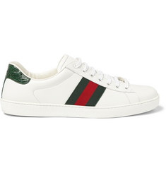 Gucci Crocodile-Trimmed Leather Sneakers