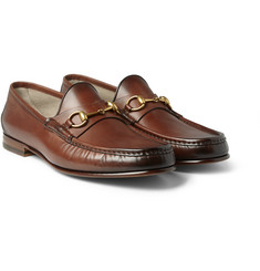 Gucci - Horsebit Burnished-Leather Loafers