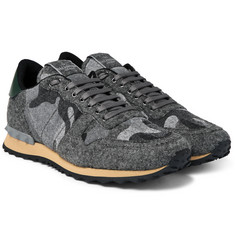 Valentino - Camouflage-Print Felt Sneakers