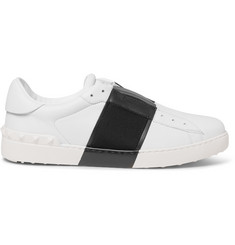Valentino Striped Leather Slip-On Sneakers