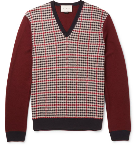 gucci male gucci checked wool and cashmereblend sweater burgundy