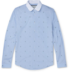 Gucci - Slim-Fit Penny-Collar Embroidered Striped Cotton Shirt