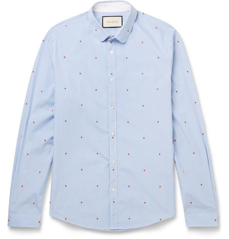 gucci male gucci slimfit pennycollar printed gingham cotton shirt blue
