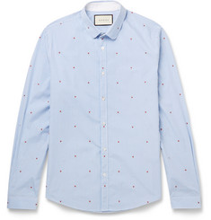 Gucci Slim-Fit Penny-Collar Printed Gingham Cotton Shirt