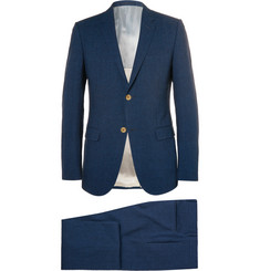 Gucci Navy Slim-Fit Checked Seersucker Suit